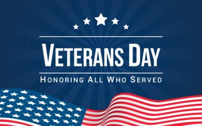 Veterans Day is Monday, November 11