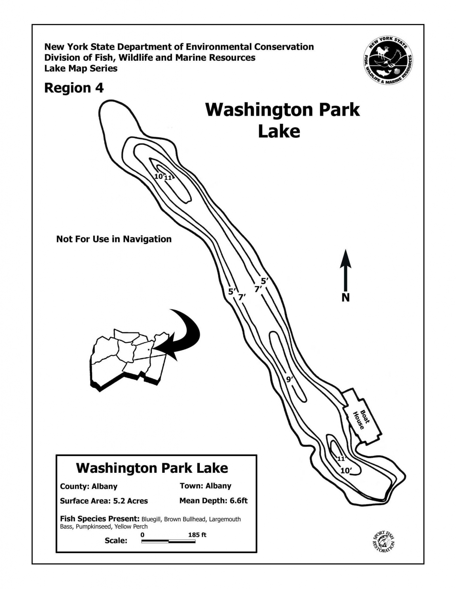 New York State Department of Environmental Conservation Washington Park Lake Map